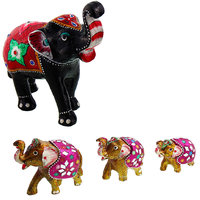 Gomati Ethnic Home Dcor Paper Mache Elephant Showpiece Handicraft Gifts With Set Of 3 Elephant Showpiece Handicraft Gifts-COMB389