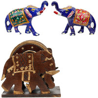 Gomati Ethnic Home Dcor Elephant Design Wooden Tea Coaster Handicraft  With Enamel Work Pure Brass Elephant Pair Gift -COMB218