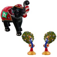 Gomati Ethnic Home Dcor Paper Mache Elephant Showpiece Handicraft Gifts With Enamel Work Pure Brass Dancing Peacock Pair Gift Handicraft-COMB390