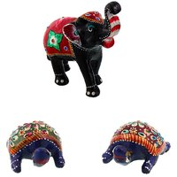 Gomati Ethnic Home Dcor Paper Mache Elephant Showpiece Handicraft Gifts With Enamel Work Pure Brass Tourtois Pair Gift Handicraft-COMB392