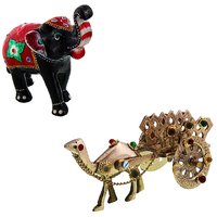 Gomati Ethnic Home Dcor Paper Mache Elephant Showpiece Handicraft Gifts With Pure Brass Gemstone Studded Camel Handicraft Gift-COMB395