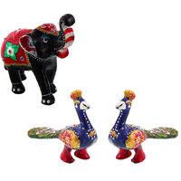 Gomati Ethnic Home Dcor Paper Mache Elephant Showpiece Handicraft Gifts With Enamel Work Pure Brass Peacock Pair Gift Handicraft-COMB396