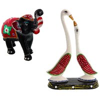 Gomati Ethnic Home Dcor Paper Mache Elephant Showpiece Handicraft Gifts With Paper Mache Pair Of Swan Showpiece Handicrafts Gift-COMB397