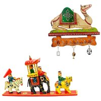 Gomati Ethnic Home Dcor Royal Maharaja Procession Wood Handicraft Item With Meenakari Work Camel Procession 3 Key Stand-COMB243