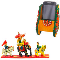 Gomati Ethnic Home Dcor Royal Maharaja Procession Wood Handicraft Item With Beautiful Kundan Meenakari Wooden Mobile Stand-COMB245