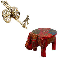 Gomati Ethnic Home Dcor Brass Rajasthani Canon Handicraft Home Decor  With Designer Wooden Elephant Stool Handicraft Gift-COMB263