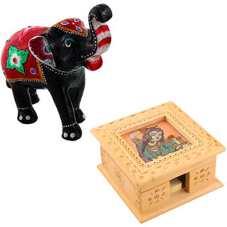 Gomati Ethnic Home Dcor Paper Mache Elephant Showpiece Handicraft Gifts With Visiting Card Holder Office Stationary Handicraft Gift-COMB380