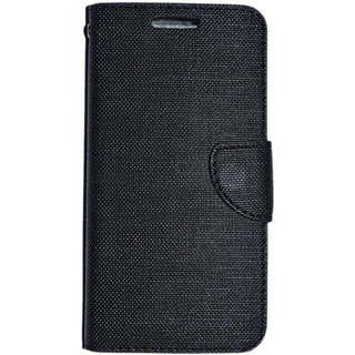 Colorcase Flip Cover Case for Reliance Jio Lyf Flame 7s - (Black)