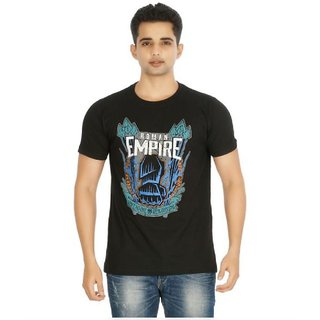 Astyler Men's Black Round Neck T-Shirt