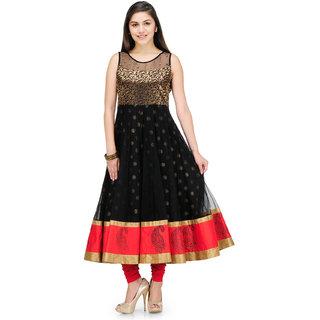 Shakumbhari Black Self Design Net Straight Kurti