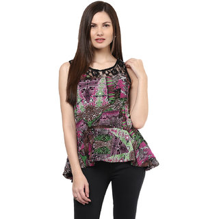 Shakumbhari Purple Printed Round Neck Sleeveless Georgette Top