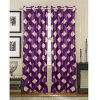 Deal Wala Pack Of 2 Box Design Purple Eyelet Door Curtain (code-04)