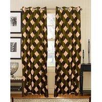 Deal Wala Pack Of 2 Box Design Green Eyelet Curtain (code-05)