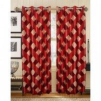 Deal Wala Pack Of 2 Box Design Maroon Eyelet Door Curtains (code-06)