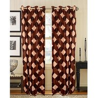 Deal Wala Pack Of 2 Box Design Coffee Eyelet Door Curtain (code-07)