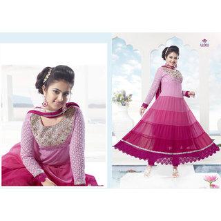 Anarkali umbrella style semi stitched suit - Fabulous pink