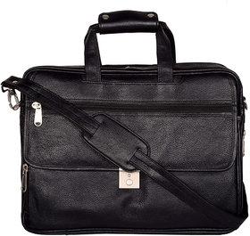 Zifana Black Genuine Leather Laptop Office Messenger Bag