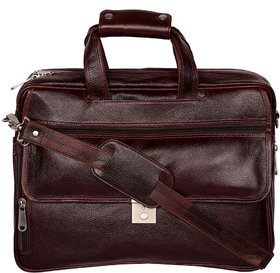 Zifana Brown Genuine Leather Laptop Office Bag