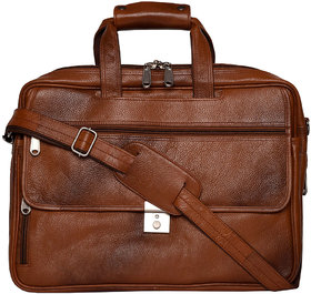Zifana Tan Genuine Leather Stylish Laptop Messenger Bag