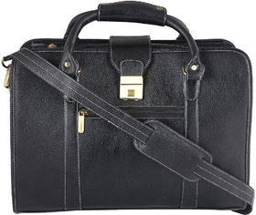 Zifana Black Genuine Leather Laptop Messenger Bag For Modern Trend
