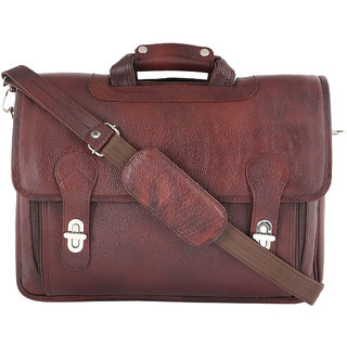Zifana Brown Genuine Leather Office Laptop Messenger Bag