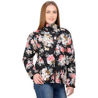 Raabta Black with Multi Color Floral Printed Bomber Jacket full Sleeve