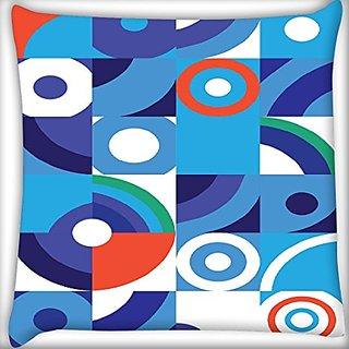 Snoogg Abstract Blue Pattern 14 X 14 Inch Throw Pillow Case Sham Pattern Zipper Pillowslip Pillowcase For Drawing Room Sofa Couch Chair Back Seat