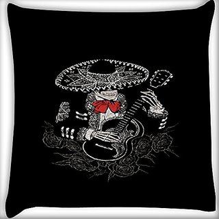 Snoogg Skeleton Playing Guitar 14 X 14 Inch Throw Pillow Case Sham Pattern Zipper Pillowslip Pillowcase For Drawing Room Sofa Couch Chair Back Seat