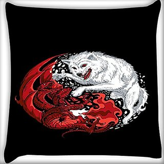 Snoogg Wolf Vs Dragon 20 X 20 Inch Throw Pillow Case Sham Pattern Zipper Pillowslip Pillowcase For Drawing Room Sofa Couch Chair Back Seat
