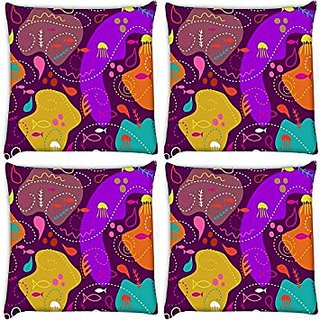 Snoogg Pack Of 4 Digitally Printed Cushion Cover Pillows 22 X 22 Inch