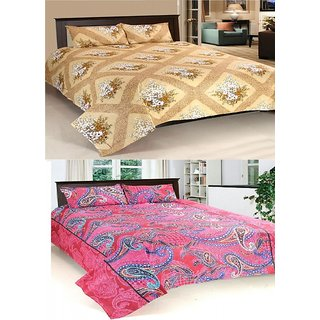 Stylobby 100 Cotton Double Bedsheet With Four Pillow Cover