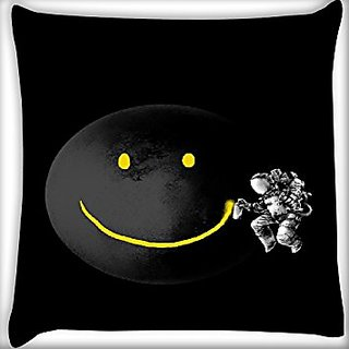 Snoogg Smile Black Moon 12 X 12 Inch Throw Pillow Case Sham Pattern Zipper Pillowslip Pillowcase For Drawing Room Sofa Couch Chair Back Seat