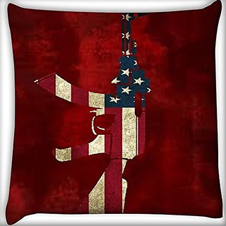 Snoogg Us Ak47 16 X 16 Inch Throw Pillow Case Sham Pattern Zipper Pillowslip Pillowcase For Drawing Room Sofa Couch Chair Back Seat