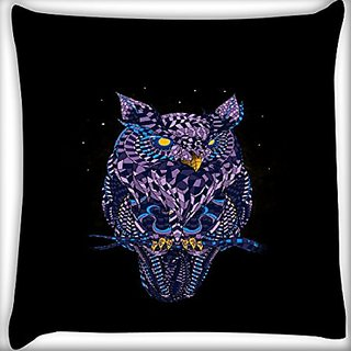 Snoogg Abstract Owl 14 X 14 Inch Throw Pillow Case Sham Pattern Zipper Pillowslip Pillowcase For Drawing Room Sofa Couch Chair Back Seat