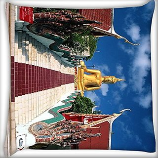 Snoogg Gautam Bhudda 22 X 22 Inch Throw Pillow Case Sham Pattern Zipper Pillowslip Pillowcase For Drawing Room Sofa Couch Chair Back Seat