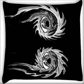 Snoogg Abstract Grey Eyes 16 X 16 Inch Throw Pillow Case Sham Pattern Zipper Pillowslip Pillowcase For Drawing Room Sofa Couch Chair Back Seat