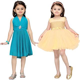 Aarika Girls Self Design Premium Net Birthday Special Frock Combo of 2