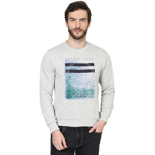 British Cross Gray Round Neck Long Sleeve Sweatshirt for Men