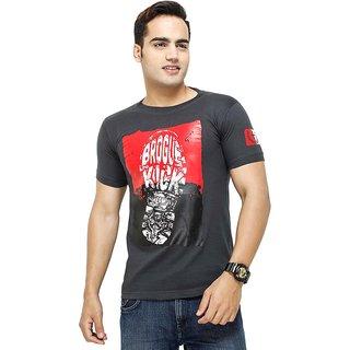 Attitude Men's Grey Round Neck T-Shirt