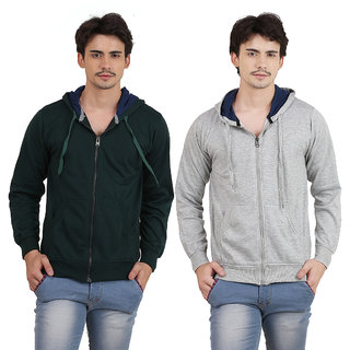 X-Cross Pack Of 2 Green Hooded Long Sleeve Sweatshirt for Men