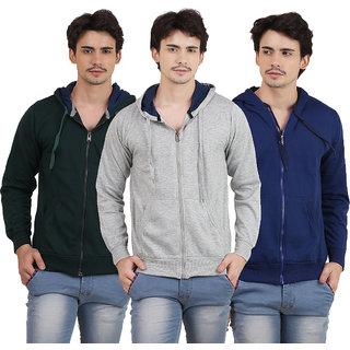 X-Cross Pack Of 3 Green Hooded Long Sleeve Sweatshirt for Men