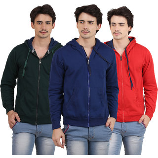 X-Cross Pack Of 3 Green Hooded Long Sleeve Sweatshirt for Men