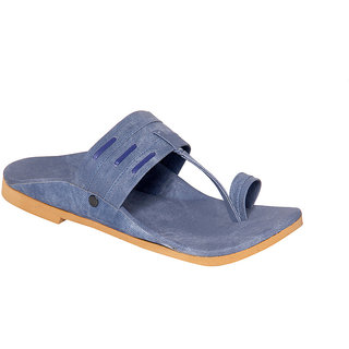 Routeen Men's Blue Kolhapuri