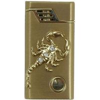 Scorpio Designer Butane Jet Flame Cigarette Lighter With Light - Gold