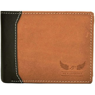 AJ Fashions Men Formal Brown Genuine Leather Wallet  9 Card Slots