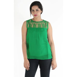 Urbane Woman Green Lace Yoke With Uneven Gathered Top