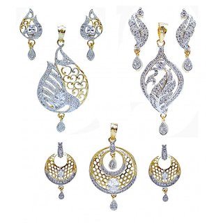 Designer American Diamond partywear pendant Set With Earring (Combo pack of 3)