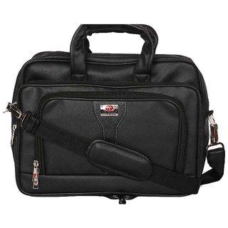 Zifana Black Artificial Leather Stylish Laptop Messenger Bag
