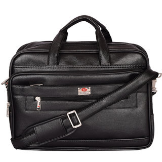Zifana Black Artificial Leather Briefcase Laptop Messenger Bag