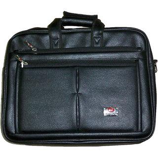 Zifana Black Artificial Leather Laptop Shoulder Bag
